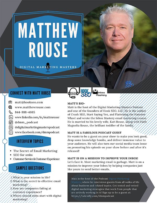 Matt Rouse Speaker Podcast Guest One Sheet